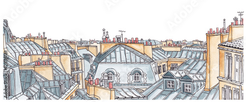 Photo sur Aluminium Paris Paris rooftops skyline