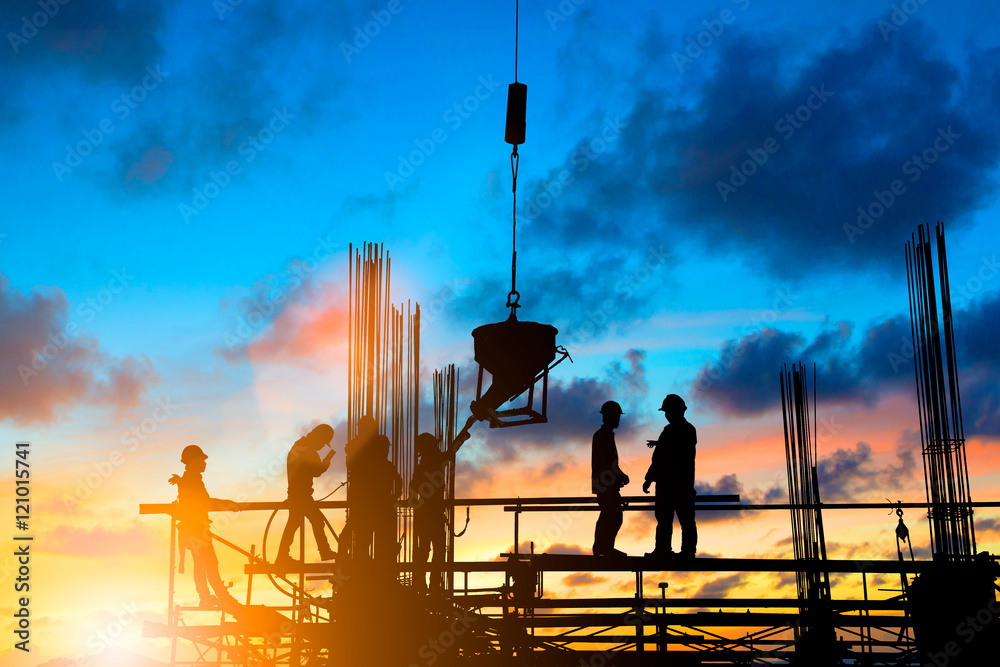 Fototapeta Silhouette People heavy industrial sector construction worker, p