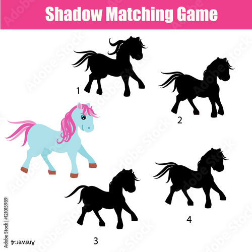 In de dag Kinderkamer Shadow matching game with animals theme, kids activity, worksheet