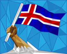 Strong Hand Raising The Iceland Flag