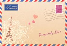 Vintage French Envelope With Eiffel Tour