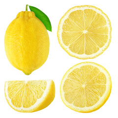 Isolated lemon fruits collection