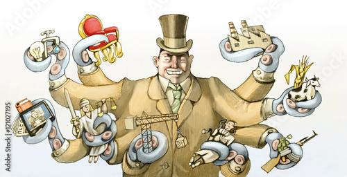 Fototapeta corrupt power political cartoon