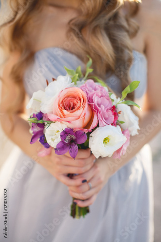 Beautiful Wedding Bouquet Of Assorted Colors Of White Pink Lilac