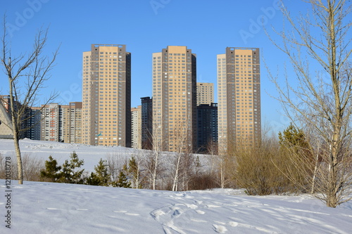 Photo Stands New York Modern residential building in Astana, capital of Kazakhstan