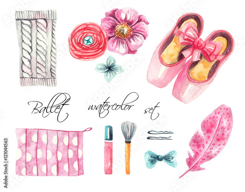 e85cf98f4 Ballet set. Pointe shoes, knitted gaiters, flowers, feather, hair clips,