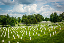 Rows Of Graves At The Arlington National Cemetery, In Arlington,