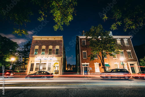 Fotografie, Obraz  Buildings on Fairfax Street at night, in the Old Town of Alexand