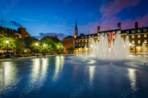 Fotografie, Obraz  Fountains and City Hall at night, at Market Square, in Old Town,