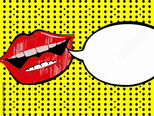 Fototapeta comic art red lips with speech bubble