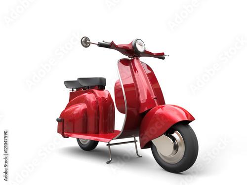 Deurstickers Fiets Cherry red vintage scooter