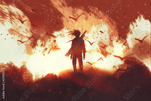 Photo  man with gun standing against fire background,illustration painting