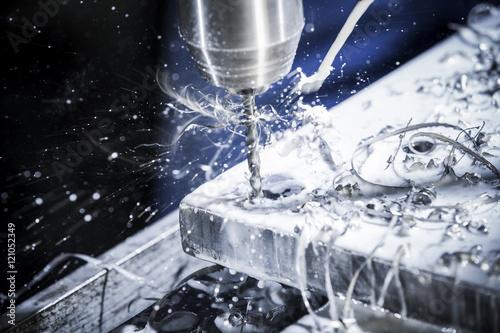 Fotografie, Obraz  Standbohrmaschine im Betrieb, Detail