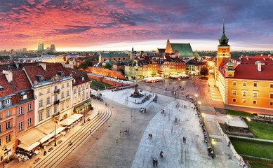 Warsaw, Royal castle and old town at sunset, Poland