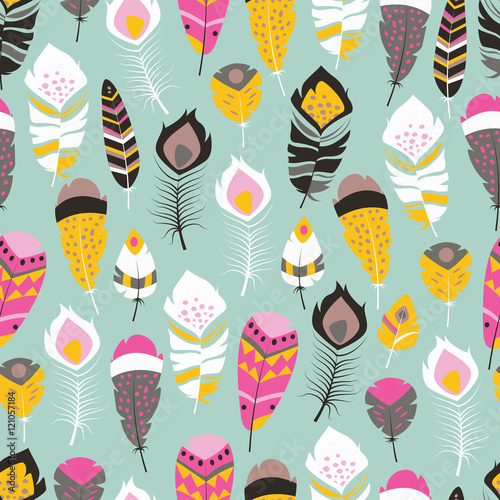 Cotton fabric Seamless pattern with boho vintage tribal ethnic colorful vibrant feathers, vector illustration