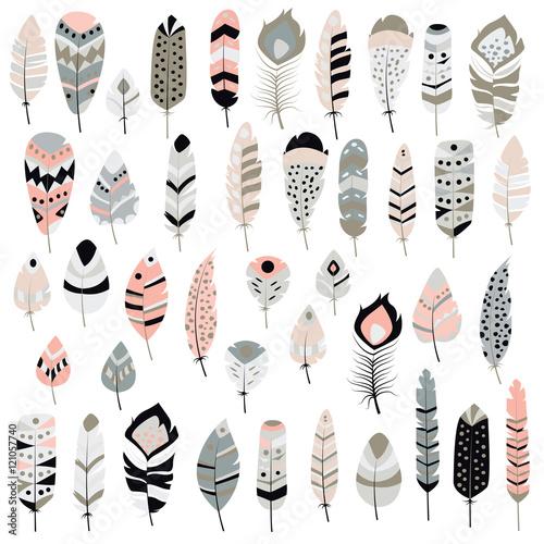 Aluminium Prints Boho Style Collection of boho vintage tribal ethnic hand drawn colorful fea