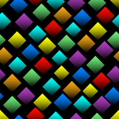 FototapetaMulticolored squares with gradient on black background. Seamless vector background with 3d effect. Diamond shapes in rainbow colors.