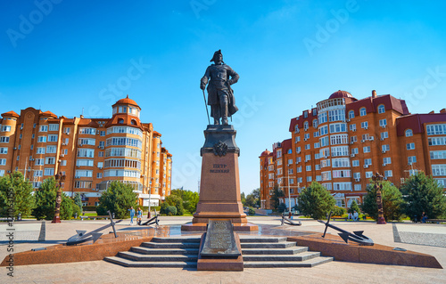 Photo ASTRAKHAN,RUSSIA-SEPTEMBER 17,2016:Monument to Peter the Great on the waterfront