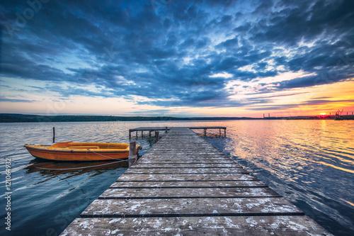Stampa su Tela Small Dock and Boat at the lake