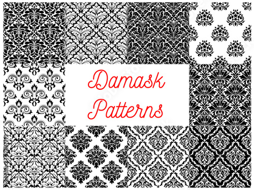 Black and white damask floral patterns set