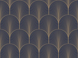 Vintage tan blue and brown seamless art deco wallpaper pattern vector - 121067945