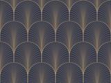 Vintage tan niebieski i brązowy bez szwu tapety art deco wektor wzór - 121067945