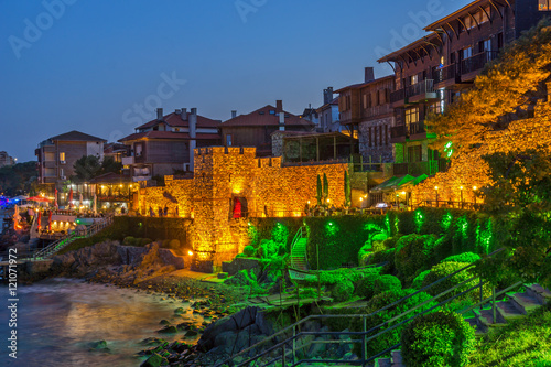Printed kitchen splashbacks Athens Amazing Night photo of reconstructed gate part of Sozopol ancient fortifications, Bulgaria