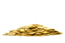 A Pile Of Golden Coins Isolated