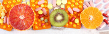 Natural Fruits And Pills, Choice Between Healthy Nutrition And Supplements