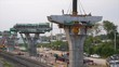 Worker at Express way construction site over railway in Bangkok, Thailand