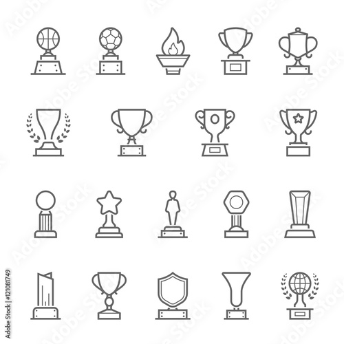 Trophy awards vector outline stroke icon set Wall mural