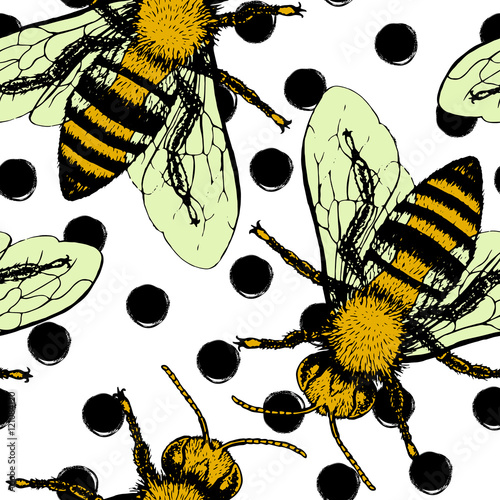 Cotton fabric Seamless vector pattern with bees.