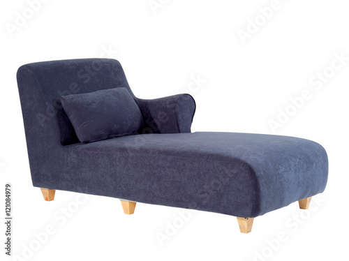 Blue chaise lounge isolated on white background with clipping path Fototapeta