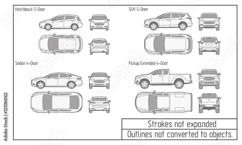 Fotografie, Obraz  car sedan and suv drawing outlines not converted to objects