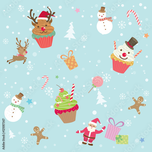 Cotton fabric Illustration vector of merry christmas ornament element cupcake  party with  snow background decoration into seamless pattern.