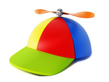 Multi Colored Hat With Propeller Isolated On White Background. 3D Illustration