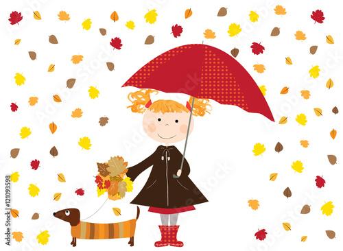 Fototapeta dziewczynka z parasolką spacerująca z psem, jesienne liście obraz