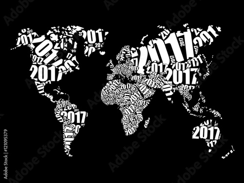 Fototapety, obrazy: 2017 Happy New Year, World Map in Typography word cloud collage concept