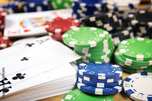 Poker cards and gambling chips background. Cards concept. плакат