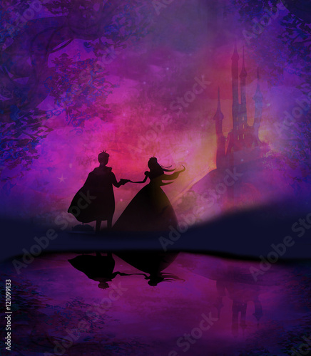Printed kitchen splashbacks Brown Magic castle and princess with prince