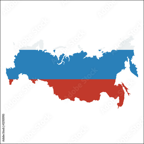 Russian Federation high resolution map with national flag. Flag of ...