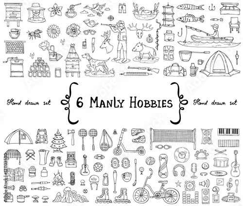 Vector set with hand drawn isolated doodles on the  theme of 6 manly hobbies. Symbols of beekeeping, hunting, fishing, sports, tourism, music. Sketches for use in design Wall mural