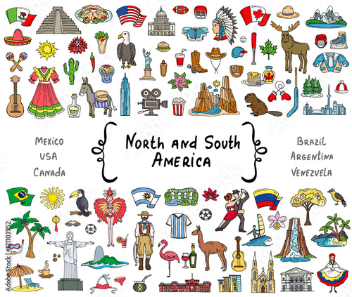 Fotografía  Vector set with hand drawn isolated colored doodles on the  theme of North and S