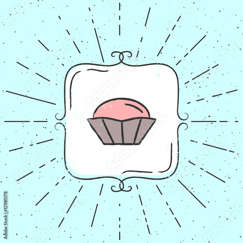 Fotografie, Tablou  Vector Illustration of cupcake
