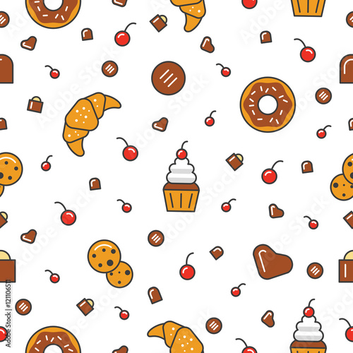 Cotton fabric Bakery and Desserts Line Art Thin Vector Seamless Pattern Background with Croissant and Cookies
