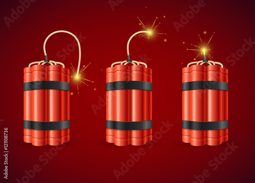 Detonate Dynamite Bomb Set. Vector Tablou Canvas