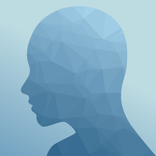 Triangulated Person Face Silhouette Vector Illustration.