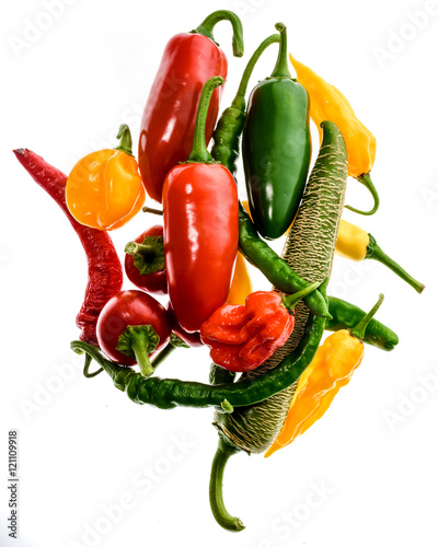 Canvas Prints Hot chili peppers Different variety of hot peppers or chilies, isolated on white.