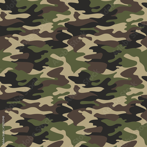Fotografía  Camouflage pattern background seamless vector illustration