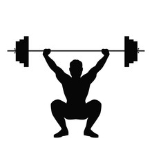 Isolated Black Silhouette Of A Man Doing Weight Lifting. Healthy Lifestyle.